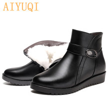 AIYUQI 2019 New Winter Mom Snow Boots Natural Full Cowhide Flat Non-slip Wool Casual boots women