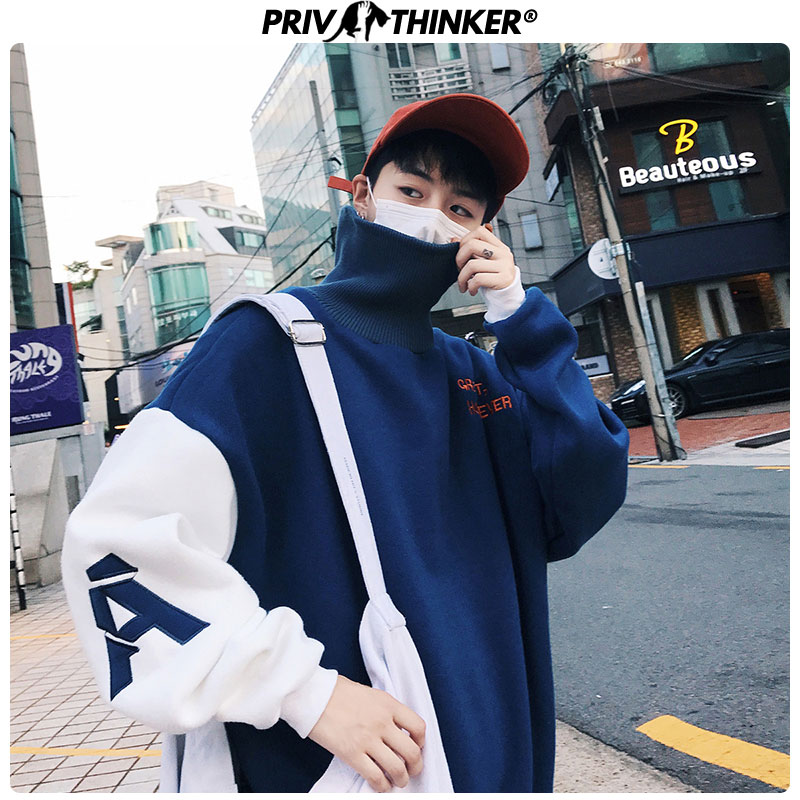 Privathinker Cotton Embroidery Autumn Winter Mens Hoodies Loose 2019 Male Pullover Sweatshirts Thicken Warm Men Turtleneck Tops