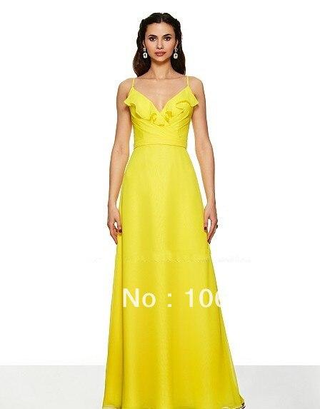 Free Shipping 2014 Poly Chiffon A-line V-neck Straps V-back Natural Waist Couture Chiffon Floor Length Ruffles Bridesmaid Dress