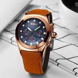 BIDEN Mannen Horloge multifunctionele drie eye grote wijzerplaat Quartz Horloges Sport Waterdichte Zes Pins Chronograaf Mannelijke Klokken geschenken # een-in Quartz Horloges van Horloges op