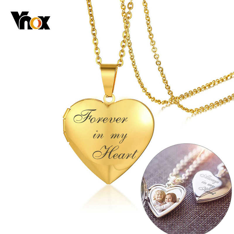 Vnox Personalized Heart Locket Pendant for Women Men Photo Frame Necklaces Stainless Steel Always in My Heart Unique Custom Gift