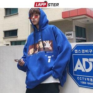 Image 4 - LAPPSTER Männer Casual Grafik Harajuku Sweatshirts Overzied Hoodies 2020 Herren Mit Kapuze Streetwear Hoodies Paar Schwarz Casual Hoodie