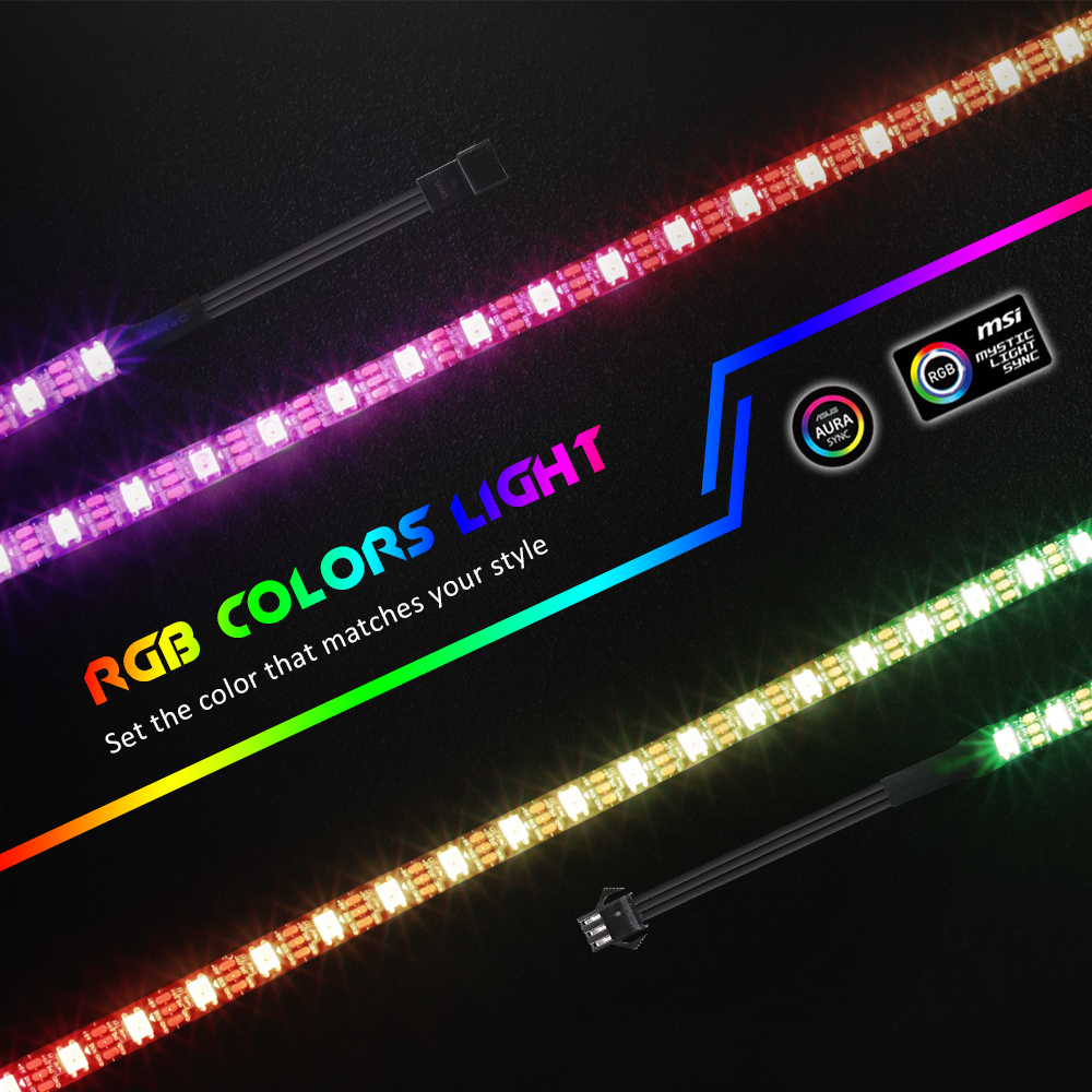 Addressable Digital Light Strip For PC, For ASUS Aura SYNC, MSI Mystic Light SYNC,AORUS RGB2.0   3 Pin ADD Header On Motherboard