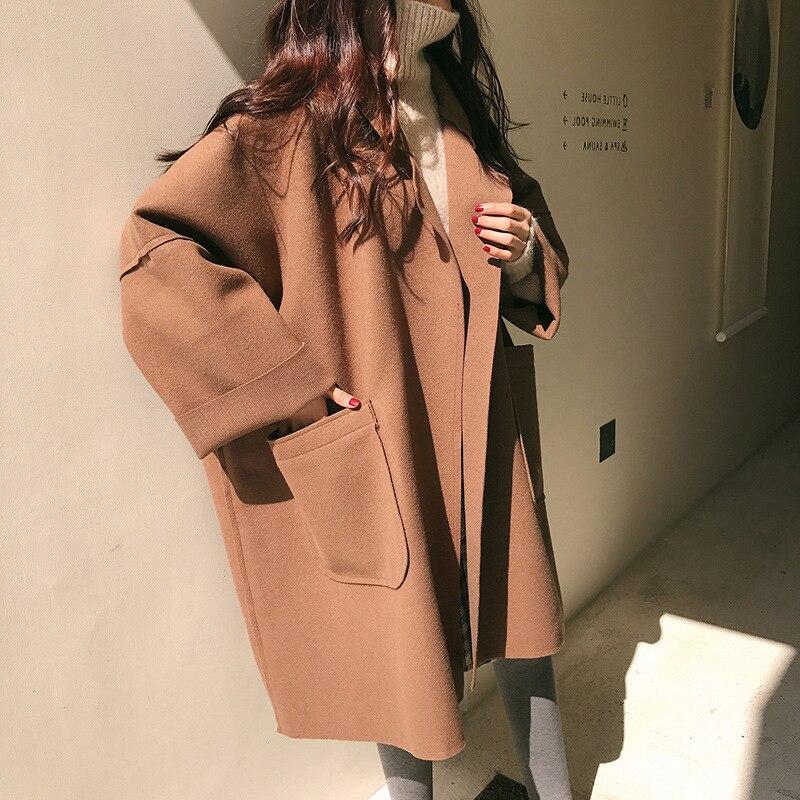 Oversize Coat Female 2020 Autumn Women Coat Long Style Pocket  Woman's Brown Woolen Coat Ladies Casual Loose Black Coat
