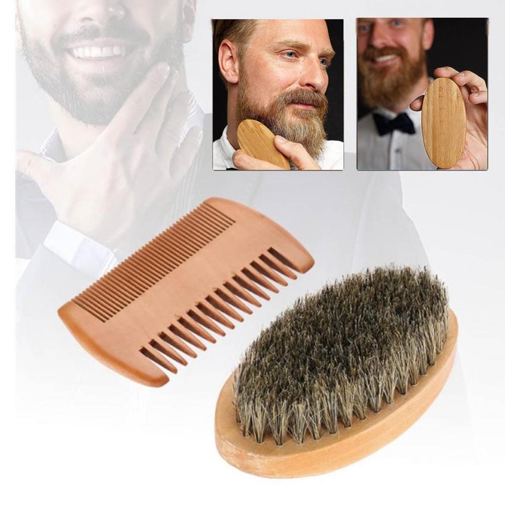 Men Boar Bristle Beard Mustache Combs Hair Brush Wood Handle Boar Mustache Styling Detangling Straightener For Facial Beard Comb