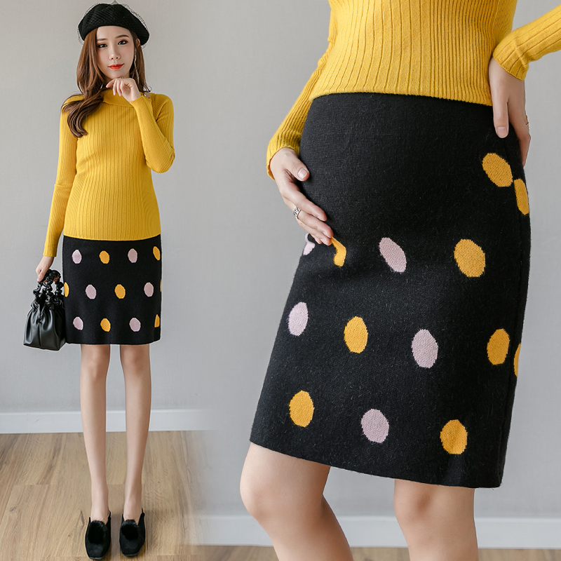5520# Color Dot Knitted Maternity Pencil Skirts Autumn Winter Sexy Hot Elastic Waist Belly Skirts For Pregnant Women Pregnancy