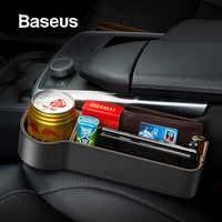 Baseus organizador do carro de couro universal assento automático gap caixa armazenamento para bolso organizador carteira chaves cigarro telefone suportes