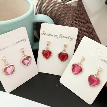 Fashion pink purple Rhinestone Cute Peach Heart Crystal Pendant earrings For Women Jewelry Bride Wedding Party 9 colors image