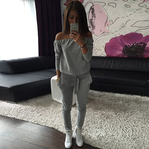 Solid Slash Neck Tracksuit for Women Long Sleeve Top Bandage Waist Sweatpants Casual Slim Ladies Gym Sport 2pcs Set