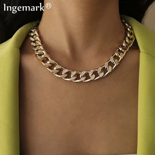 Collier ras du cou cubain de haute qualité Collares Punk Vintage chaîne en aluminium à maillons épais pour femmes nouvel an bijoux accessoires