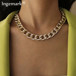 High Quality Cuban Choker Necklace Collares Punk Vintage Chunky Thick Link Aluminum Chain for Women New Year Jewelry Accessories