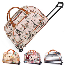 Personalized Print Trolley Bag PU Leather WOMEN Travel Bag on Wheels Duffle Hand Luggage Trolley Bag with Wheels Travel Suitcase