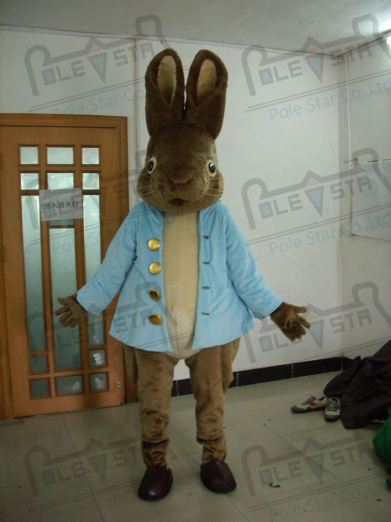 quality grey peter bunny mascot  costumes cartoon blue coat rabbit mascot design