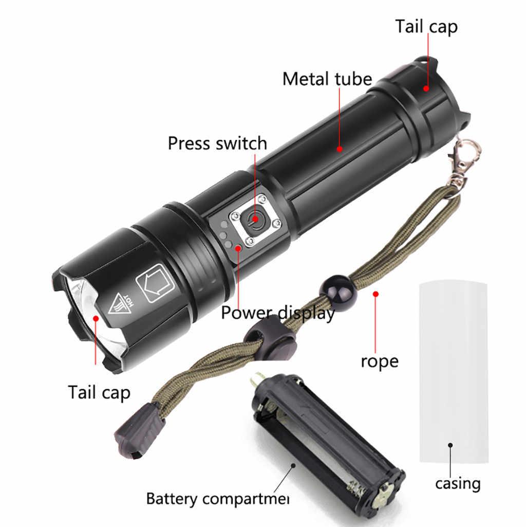 سبائك الألومنيوم XHP70 قوية مصباح ليد جيب USB شحن مع شحن عرض الشعلة ليلة الصيد مصباح شعلة