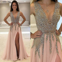 Bbonlinedress New Arrival Prom Dress 2020 V Neck Chiffon Evening dress Dress with Beading Vestido de fiesta