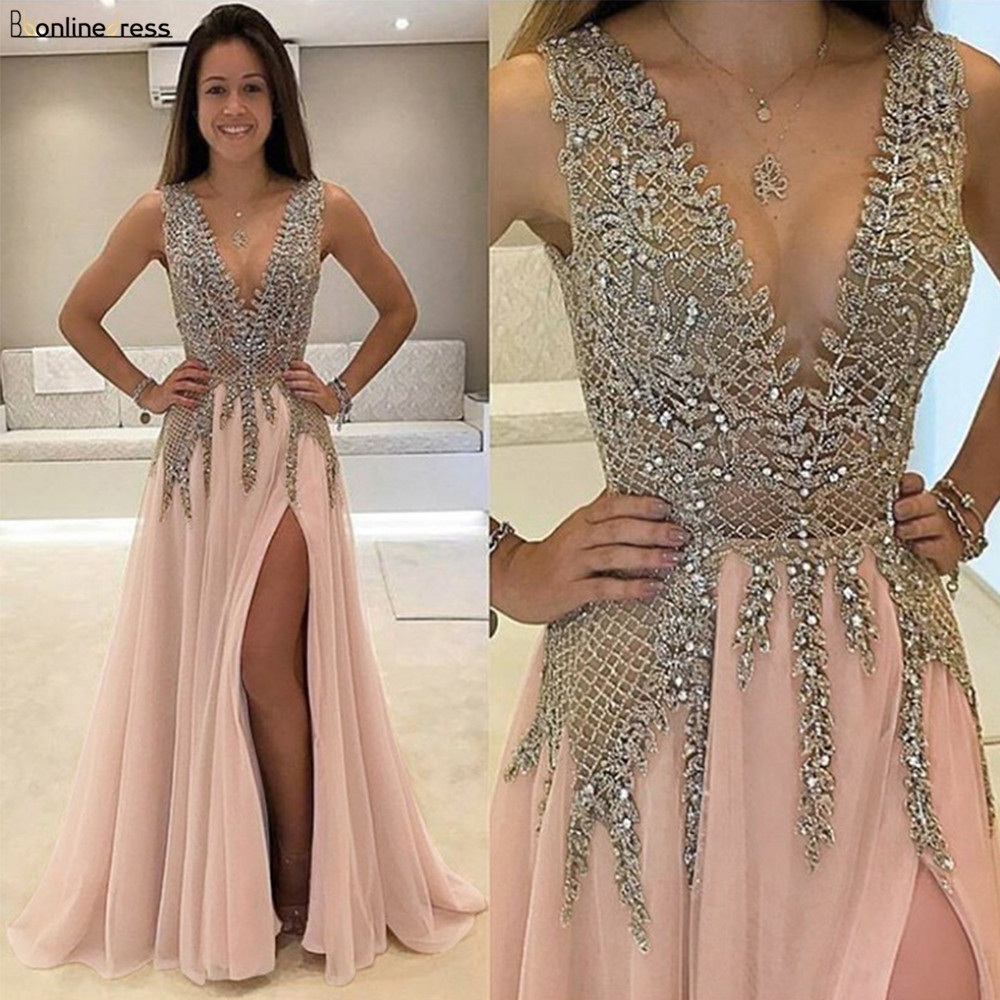 Bbonlinedress New Arrival Prom Dress 2020 V-Neck Chiffon Evening dress Dress with Beading Vestido de fiesta title=