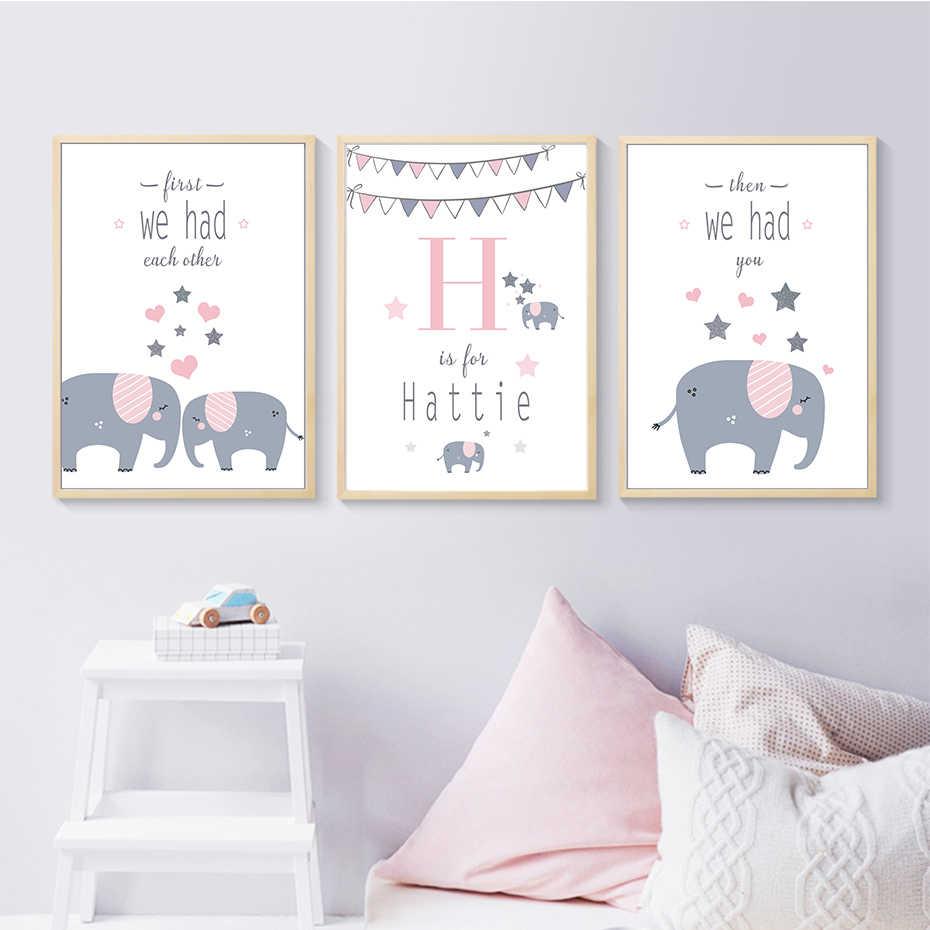 Elephant Family Nursery Decor Wall Art