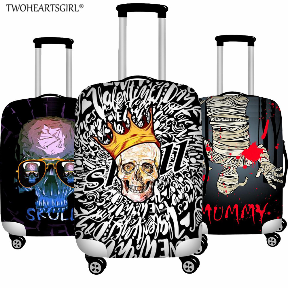 TWOHEARTSGIRL Cool Punk Skull Luggage Cover Travel Suitcase Protector 18-32 Inch Trolley Case Dust Cover Travel Accessories
