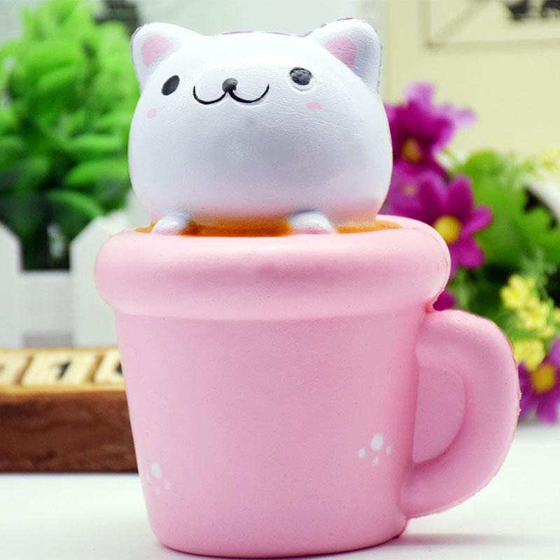 Cute PU Cat Toy Slow Rising Squishy Cupcake Cat Cute Squeeze Stress Relieve Toys Gifts For Kids
