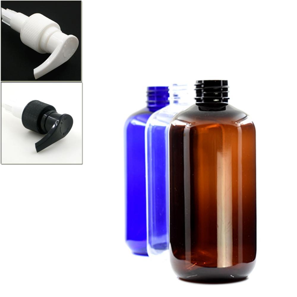 250ml Empty Boston Round Plastic Bottle , Clear/amber/blue Pet Bottle With Black/white Lock Pumps