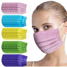Descartável gravado máscara adulto cor misturada respirável spunlace pano respirável gravado máscara facial industrial 3ply orelha loop