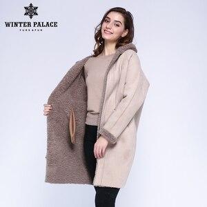 Image 5 - Kış saray 2019 kadın yeni yün ceket uzun kapşonlu kürk uzun kapşonlu granül kürk ceket kış sıcak ve rüzgar geçirmez yün ceket