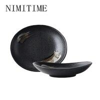 NIMITIME Japanese Style Ceramic Large Fish Plate Restaurant  Multi Size Home Fruit Snack Dinner Plate