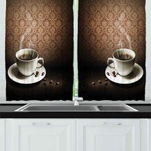 Café cocina cortinas taza de café caliente en la mesa de madera diseño de Damasco en la pared romántica Vintage ilustraciones cortina de ventana