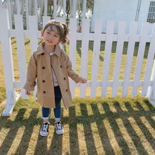 цена на Kids Jacket Baby Girls Trench Coat Fashion Korean Long Parka Windbreaker  2-8 Years Children's Outerwear