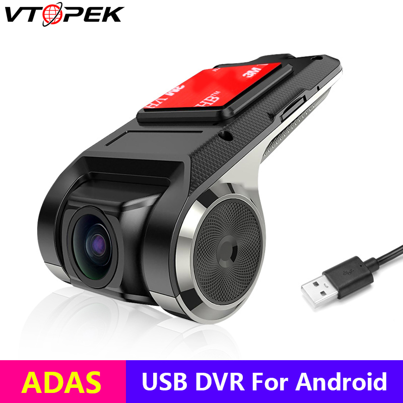 Vtopek Car Dvr ADAS Usb Camera Dvr 1080P HD For Car DVD Android Player Navigation Auto Audio Voice Alarm LDWS Support TF Card