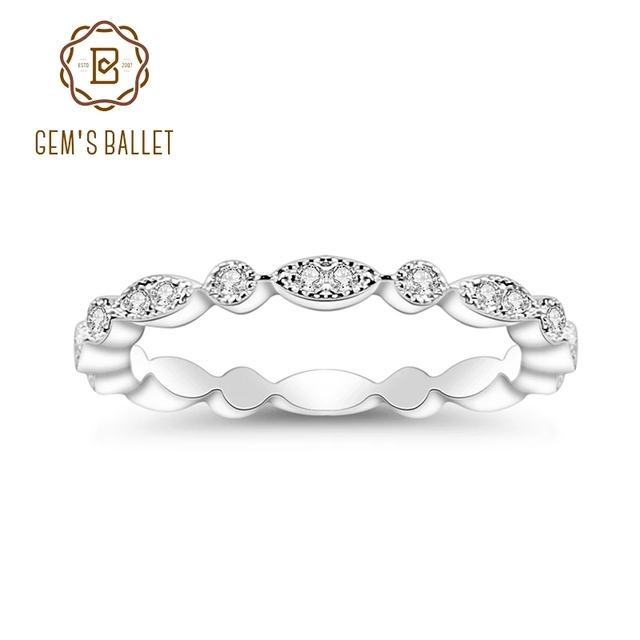 Pulseira de casamento de prata esterlina 925 para mulheres jóias finas anel de balé 0.008ct moissanite ef color eternity band