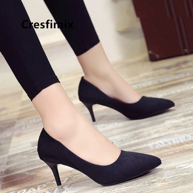Cresfimix Women Fashion Black Office High Heels Lady Casual Comfortable Spring & Summer Office High Heel Shoes Sweet Blue Pumps