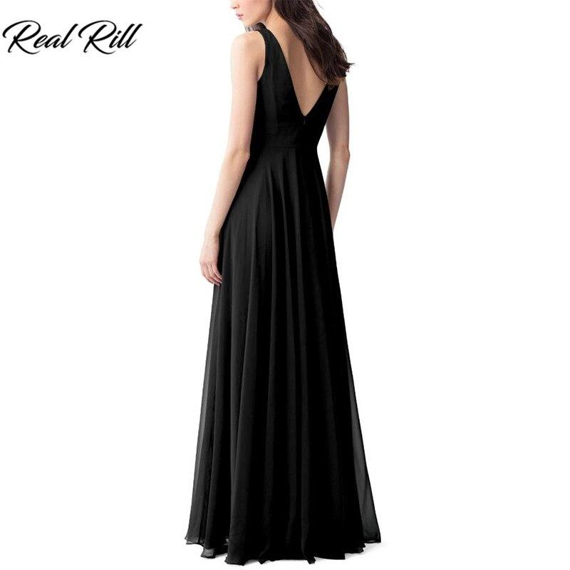 Real Rill Cowl décolleté robes de demoiselle d'honneur Zipper Up v-back plissée longueur de plancher en mousseline de soie robe de mariée pour la fête de mariage - 6