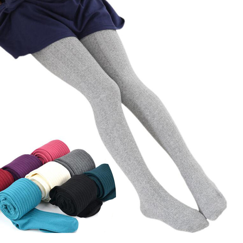 2020 Autumn Winter Cotton Girl Tights Solid Color Knitted Tights Kids Children Pantyhose Baby Stockings 2-9 T 1
