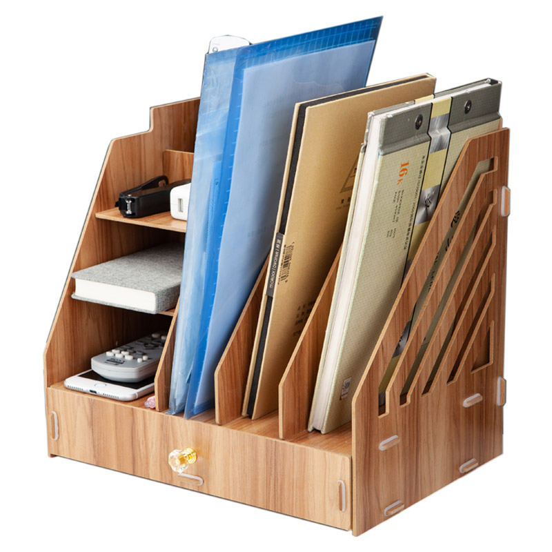 Wood File Frame DIY Portfolio File Rack Wood Desktop Receiving Multi-layer File Tray  Document Trays Stationery Holder