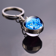Wolf Keychain and Moon Keyring Howling Double Side Glass Ball Pendant Head Jewelry