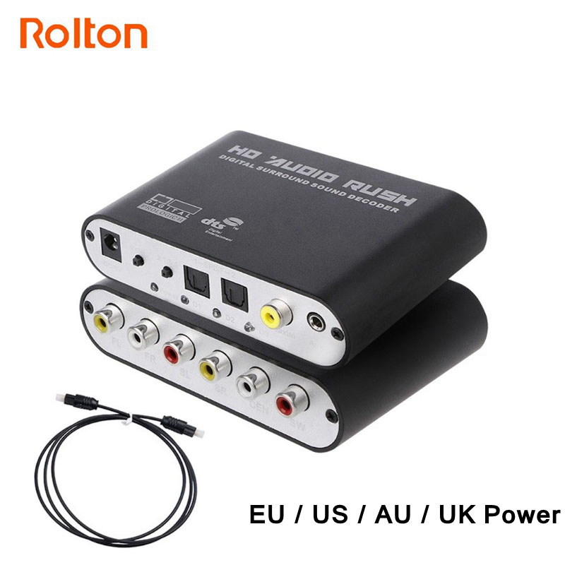 Digital To Analog 5.1 Stereo DTS AC3 Audio Sound Decoder Amplifier Optical SPDIF Coaxial AUX 3.5mm To 6 RCA Adapter Converter