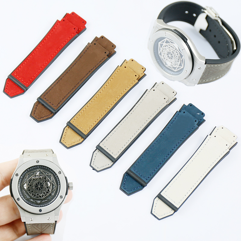 Watch Accessories Scrub Leather Strap Men Applicable To For HUBLOT Hublot Explosion Waterproof Strap Multicolor 19*25
