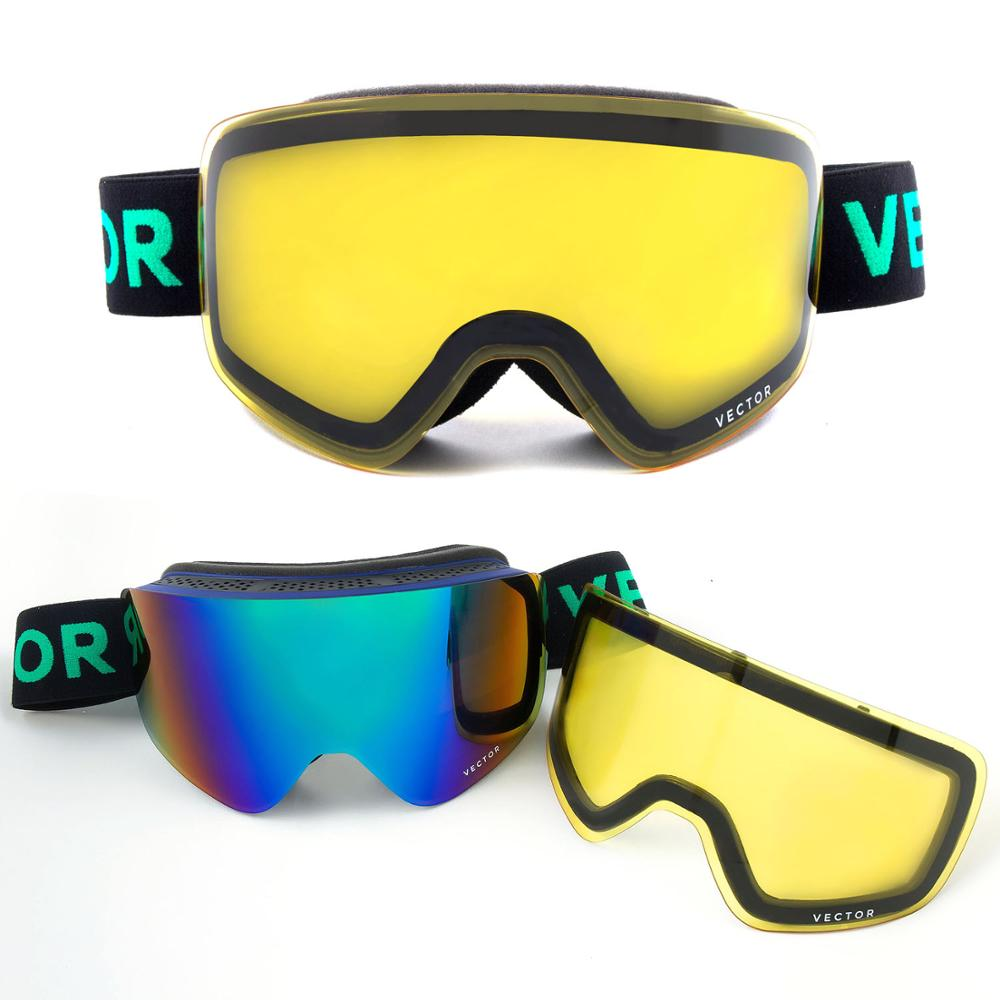 VECTOR Brand Ski Goggles Double Lens UV400 Anti-fog Women Men Snowboard Skiing Glasses Snow Eyewear With Additional Lens