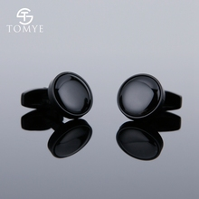 TOMYE Matte Black Round Groom Custom Enamel Unique Cufflinks for Shirt Men XK19S123