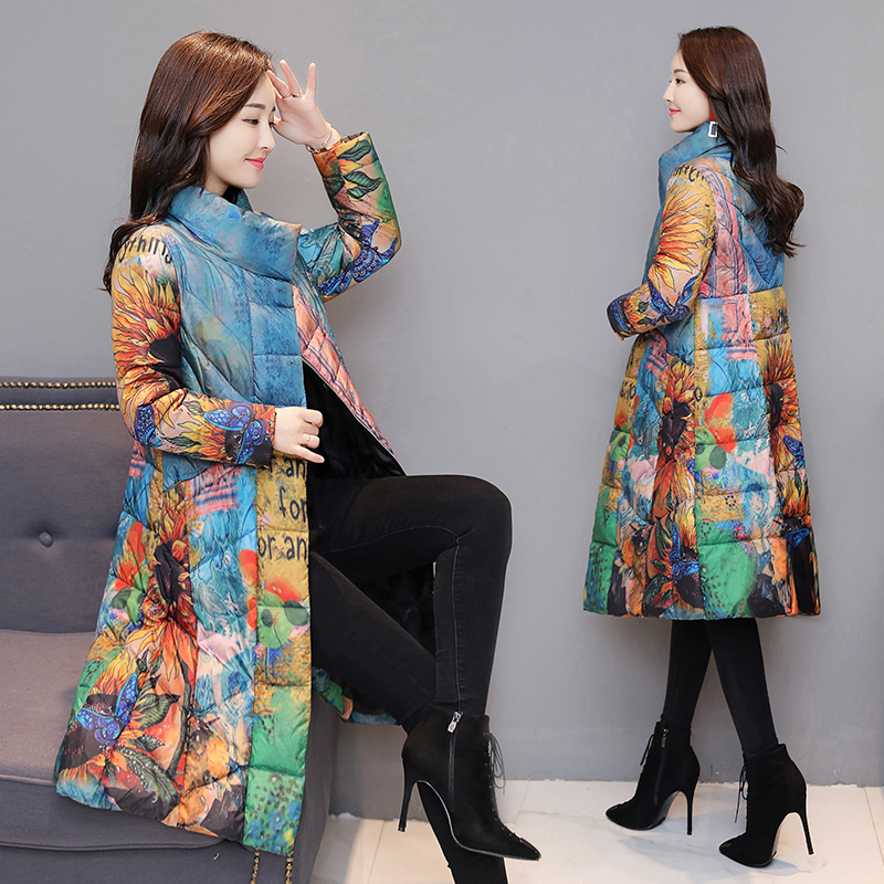 Winter Jacket Women White Duck Down Coat Female Long Jackets Thick Warm Down Parka Print Plus Size 5XL Clothes LWL1335