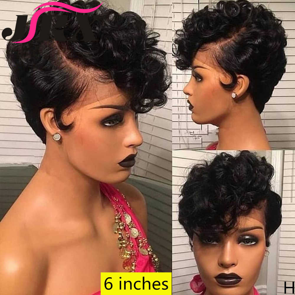 Brazilian Short Curly 13 4 Front Lace Wig Human Hair Wig Pixie Cut Lace Frontal Wigs Pre Plucked With Band For Black Women Human Hair Lace Wigs Aliexpress