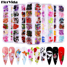 FlorVida 12 Grids Boxed Nail Art 3D Decorations Set Mixed Wood Flakes For Manicure Halloween Design Christmas butterfly Sequins