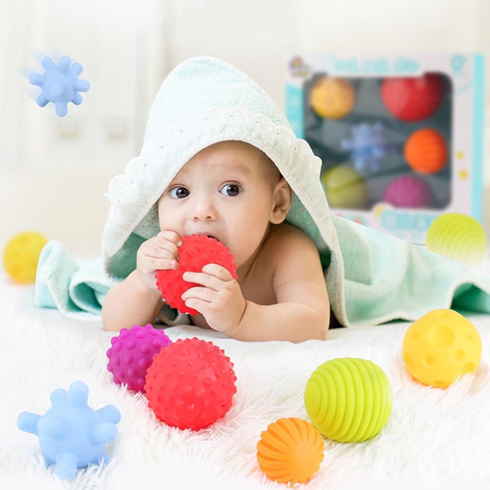 6Pcs Sensory Touch Multiple Textured Baby Balls With BB Sound Bath Education Toy Developmental Toy Texture Ball Various Shapes