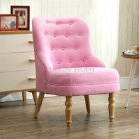 American Cotton Linen Fabric Single Armrest Sofa Nordic Comfortable Mini Chair for Balcony Bedroom Living Room Furniture