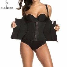 Melhor shapewear perda de peso com zíper e ganchos em preto neoprene sweat vest sauna colete formadores de cintura