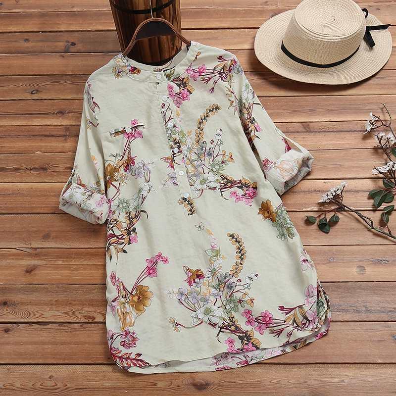 Vintage Printed Shirts Women's Floral Blouse ZANZEA 2020 Spring Long Sleeve Blusas Female Button Work Tunic Plus Size Casual Top