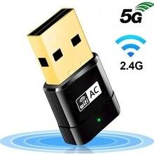 Nowy Mini 2.4G / 5G przejściówka USB z WiFi bezprzewodowy dwuzakresowy AC 600 mb/s RTL8188CU Chipset karta sieciowa dla PC Windows MAC OS X systemów