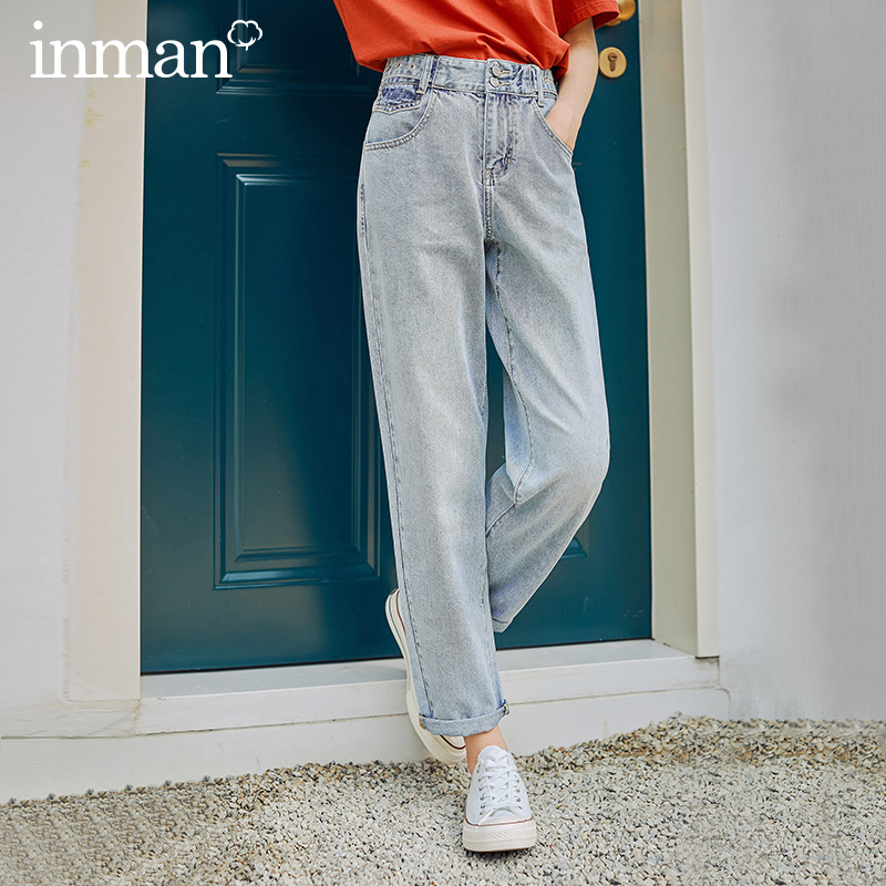 INAMN 2020 Summer New Arrival Retro Style High Waist Slimmed Ankle-length Straight-leg Jeans