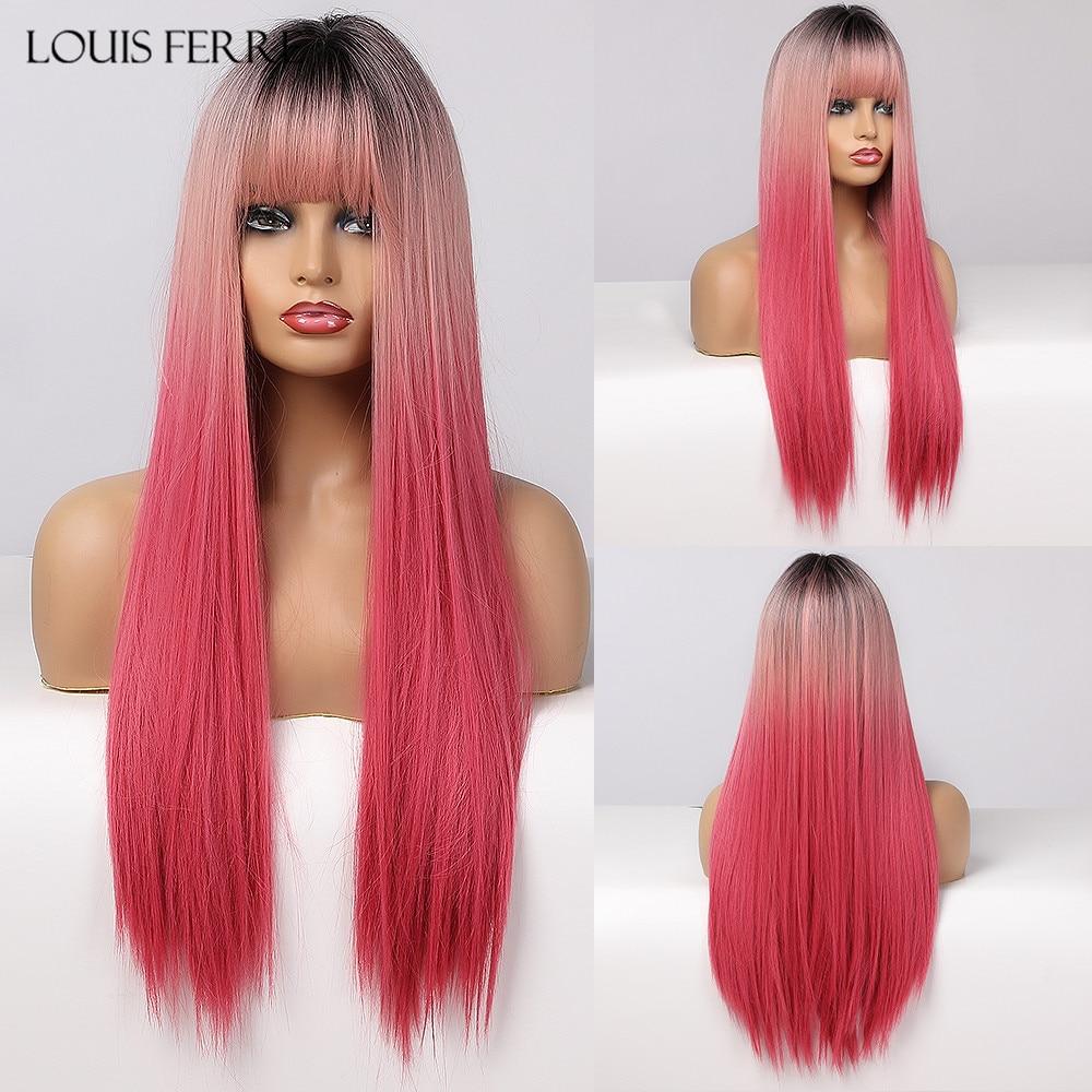 Парики для косплея Луи Ферре, черные, розовые, красные, длинные, прямые, Омбре, синтетический парик с челкой для черных женщин, афро Термостой...